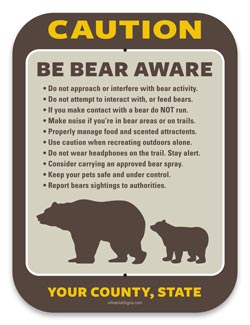 Caution Bear Aware Sign